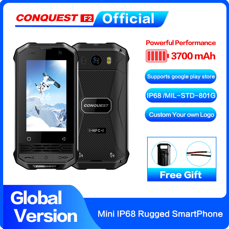 CONQUEST F2  Mini IP68 Rugged Mobile Phone Fingerprint Face ID Android 8.1 4G LTE Global Version Smartphone Best Gift for child