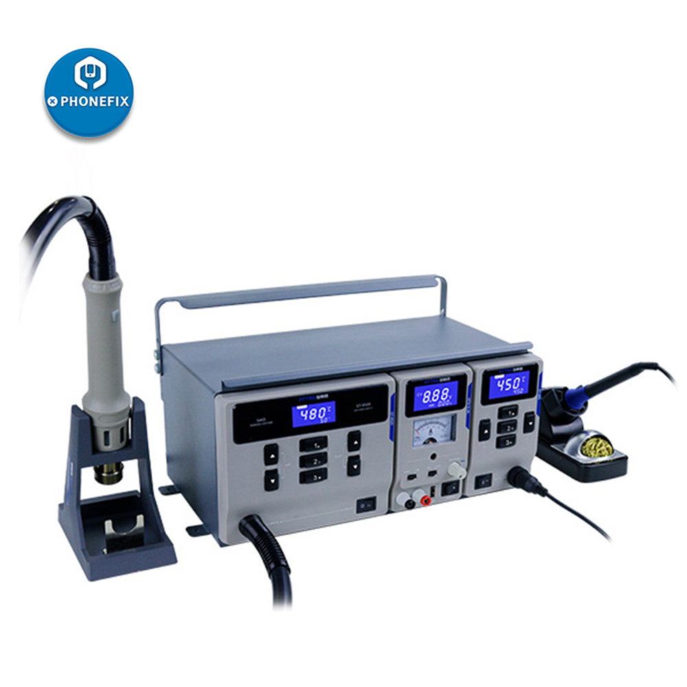 ATTEN MS-300 SMD 3 IN 1 Maintenance System Rework Soldering Station 15V 3A DC Power Supply 1000W Hot Air Gun 65W Soldering Iron
