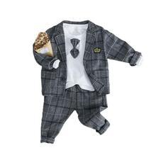 купить Baby Boy Clothing Sets Male Children Clothes Suits Kid Gentleman Style Coats T Shirt Pants Grid Infant Clothes по цене 933.33 рублей