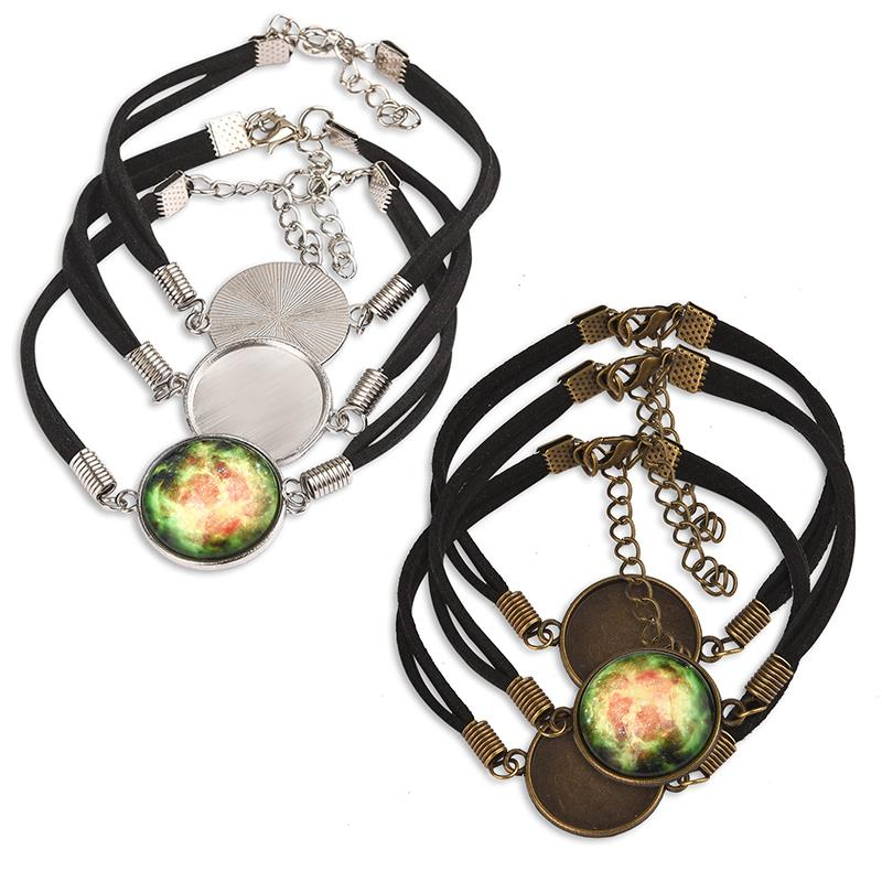1 bracelet support round cabochon 20 mm silverbronze