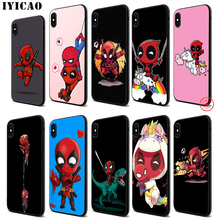 IYICAO Marvel funny unicorn Deadpool Soft Black Silicone Case for iPhone 11 Pro Xr Xs Max X or 10 8 7 6 6S Plus 5 5S SE цены