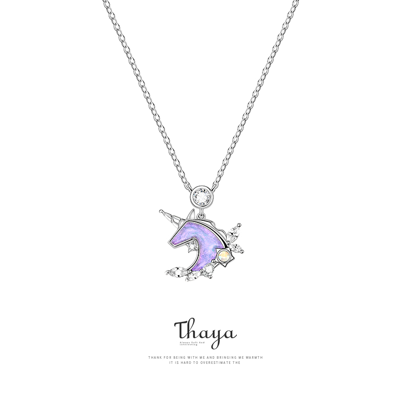 Thaya Design S925 Silver Jewelry Pendant Necklace Unicorn Necklace For Women Authentic 925 Sterling Silver Fine Jewelry Gift