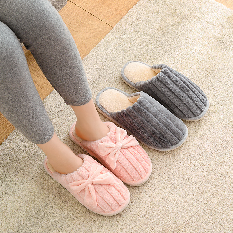 Women Indoor Slippers Soft Faux Fur Bowtie Lovers Bedroom Slipper Warm Plush Autumn Winter Shoes Woman Men Home Slides SH08213