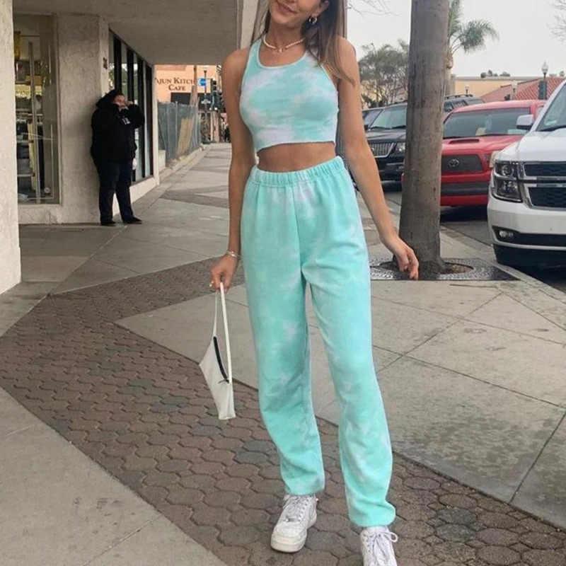 Batik Kadin Iki Parcali Setleri Esofman Yaz Tanki Ustleri Streetwear Pantolon Bayan Setleri Sonbahar Gevsek Spor Giyim Seti Kadinlar Icin Kadin Setleri Aliexpress