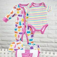 Комплект с нагрудником; детская одежда; комбинезон для новорожденных; одежда с принтом для маленьких девочек; хлопковая одежда для новорожденных; Подарочный комплект