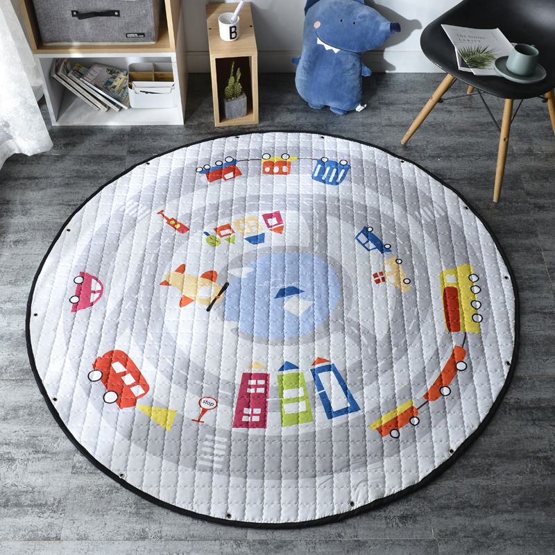H34c7bfb662f443a88e8efb858a4bbb162 Kid Soft Carpet Rugs Cartoon Animals Fox Baby Play Mats Child Crawling Blanket Carpet Toys Storage Bag Kids Room Decoration