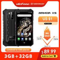Ulefone armadura X5 MT6763 Octa core ip68 resistente impermeable Smartphone Android 9,0 teléfono móvil 3GB 32GB NFC 4G LTE móvil teléfono