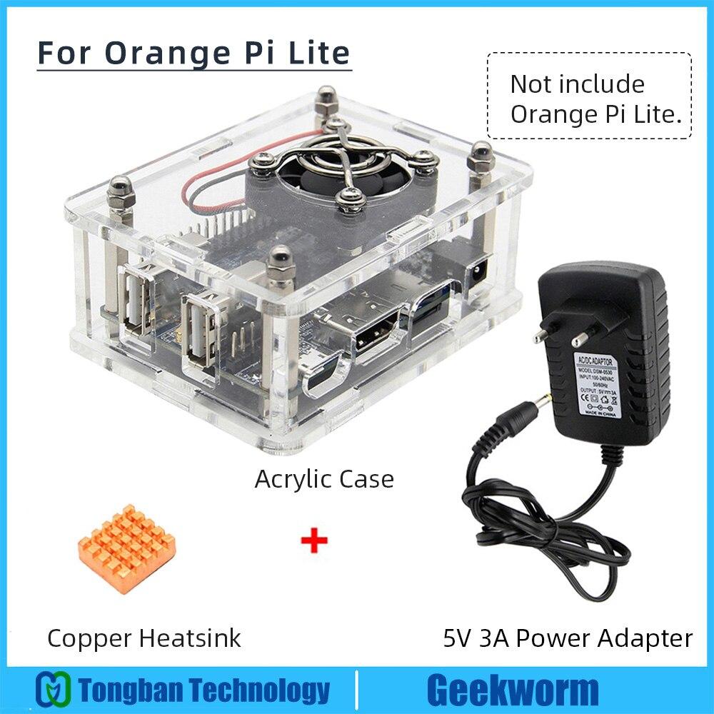 Orange Pi Lite Acrylic Case with Fan+Heatsinks+5V 3A Power Supply / Power Adapter Set for Orange Pi LiteDemo Board   -