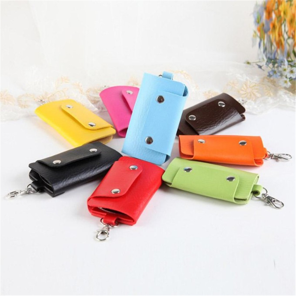 1 PC Portable Leather Housekeeper Holders Car Keychain Key Holder Bag Case Unisex Wallet Cover Simple Solid Color Storage Bag