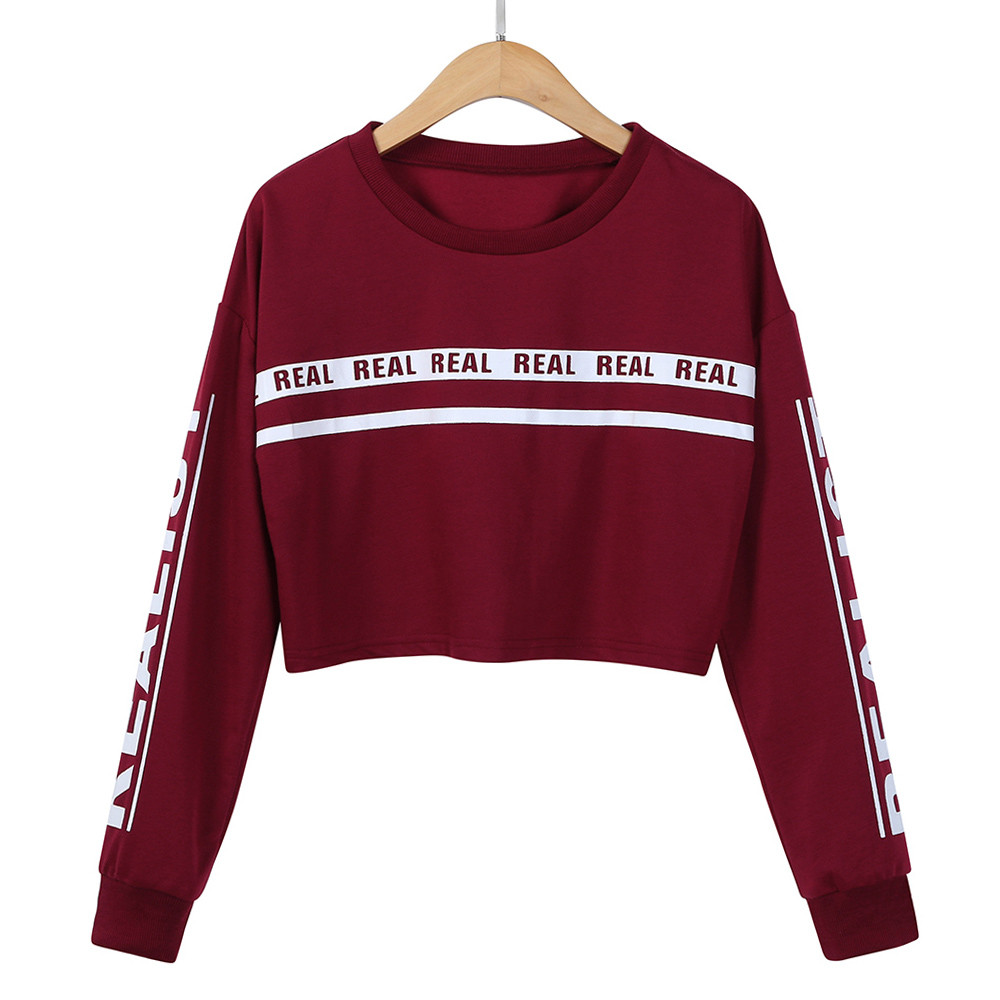 JAYCOSIN Fashion Girl White Letter Print Long Sleeve Sweatshirt Elegant Chic Casual Comfortable Crop Jumper Pullover Tops