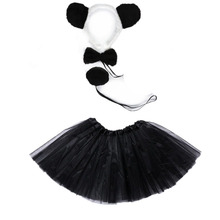 Animal Cosplay Christmas Halloween Costume Panda Girl Kids for Headband Tutu-Skirt Tie-Tail-Set