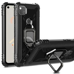 Shockproof Armor Kickstand Phone Cover For Google pixel 4a Funda Magnetic Finger Ring Stripe Coque for Google Pixel 4a case