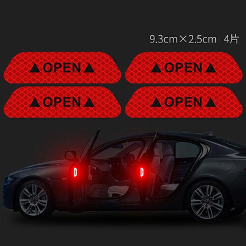 4 Stks/set Auto Open Reflectante Tape Waarschuwing Mark Reflecterende Open Opmerking Fiets Accessoires Exterieur Deur Auto Reflecterende Sticker