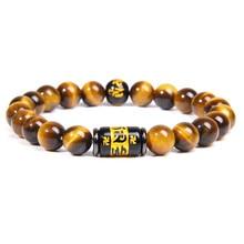 Natural tigre olho grânulos pulseira masculino charme budismo tibetano mantra totem strand pulseira para o homem mulher om mani padme hum jóias
