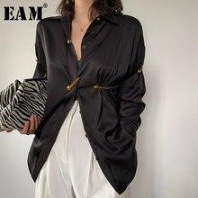 [EAM] camicetta elegante da donna con pieghe a pieghe nere nuova camicia a maniche lunghe con risvolto manica lunga moda marea primavera estate 2021 1W477