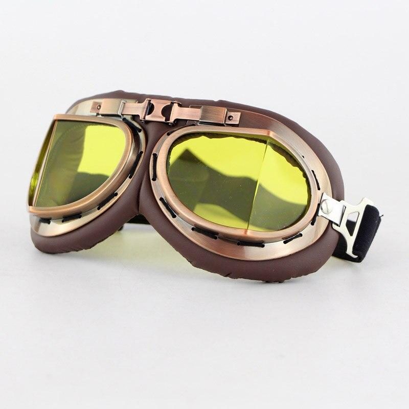 Demi-casque de moto en cuir rétro casque de moto Vintage avec lunettes VS998