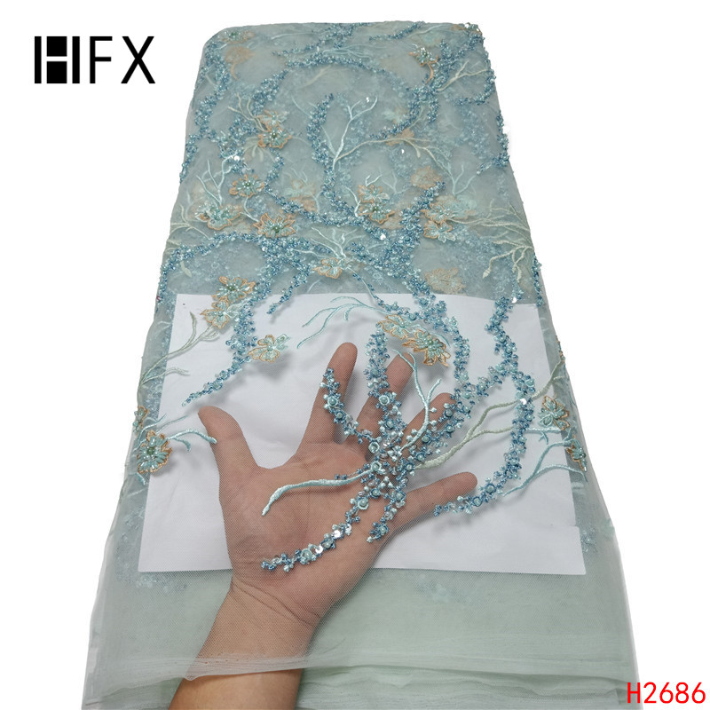 HFX mint green 2019 3D Flowers Beaded Tulle African Lace Fabric High Quality Beautiful French Tulle for wedding dress H2686-in Lace from Home & Garden    1
