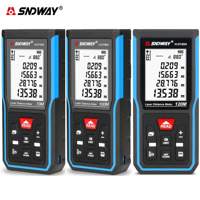 SNDWAY 50M 70M 100M 120M Laser-distanzmessgerät Digitalen Palette Finder Entfernungsmesser Laser Maßband Werkzeug trena Roulette Winkel