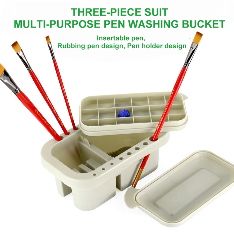 Pen Washing Bucket Multifunctional Three Piece For Gouache Watercolor Acrylic Oil Painting Washing Bucket With Palette