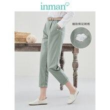 אינמן 2020 אביב חדש הגעה רגיל כותנה סדרת ספרותי פנאי רזה המהומים באורך קרסול הרמון מכנסיים