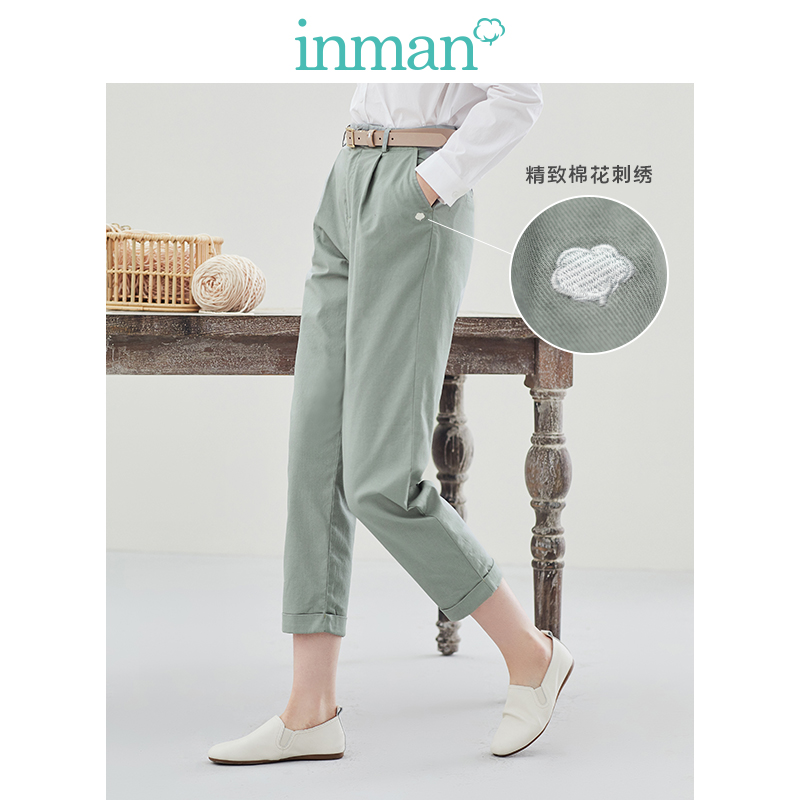 INMAN 2020 Spring New Arrival Plain Cotton Series Literary Leisure Slimmed Hemming Ankle-length Harem Pant
