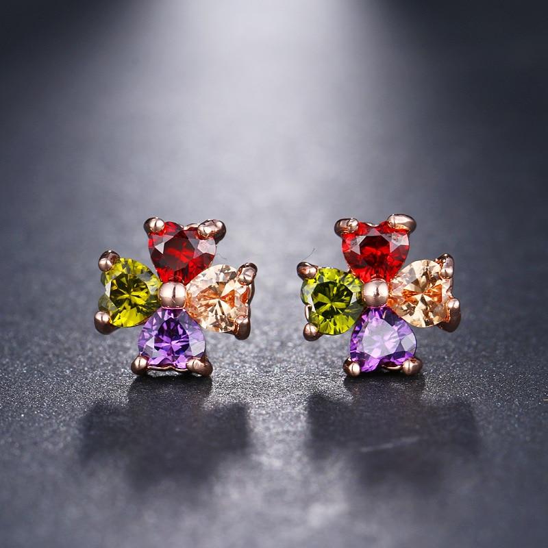 Cute Female Heart Crystal Stud Earrings Simple Rose Gold Color Wedding Earrings Fashion Rainbow Zircon Flower Earrings For Women