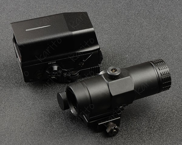 Holographic 1x Red Dot Sight And 3x Magnifier Scope With Picatinny Rail Side Flip Mount BLACK M7964