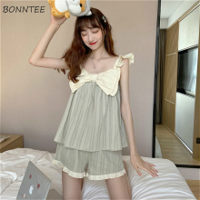 Pajama Sets Women Kwaii Ruffles Fashion Patchwork Summer Sex