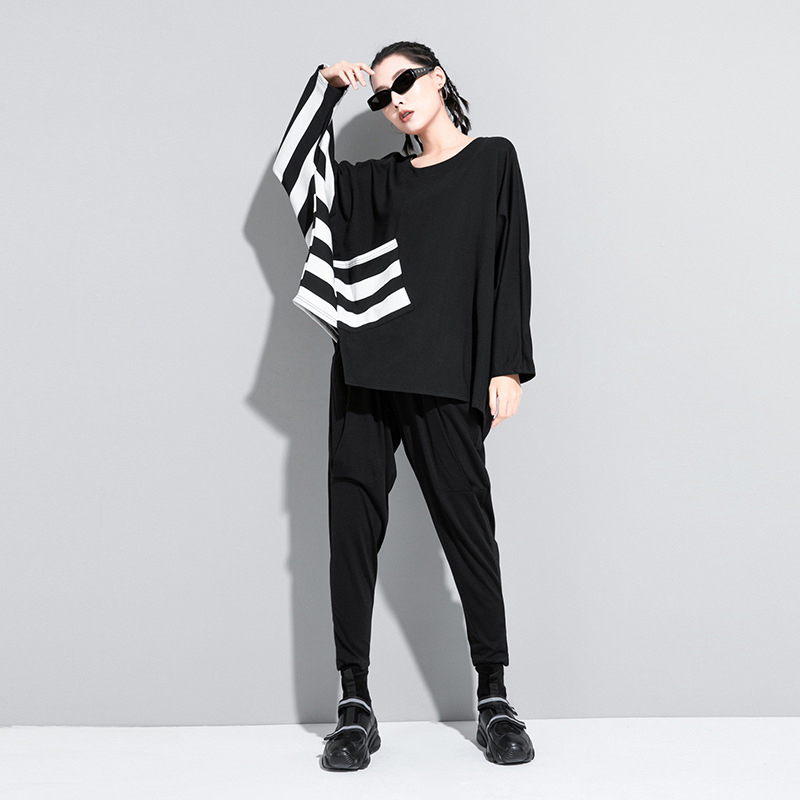 [EAM] Women Black Striped Split Joint Big Size T-shirt New Round Neck Long Sleeve  Fashion Tide  Spring Autumn 2021 1Z205