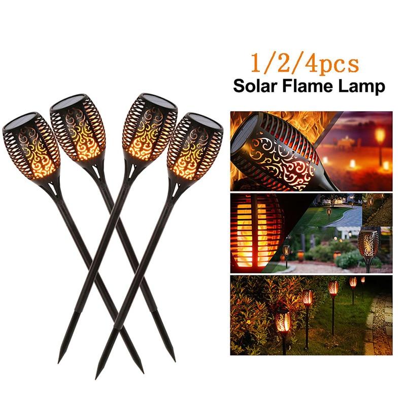 LED Solar Flame Lamp Flickering 1/2/4pcs Solar Landscape Lawn Lamp Outdoor Waterproof IP65 Yard Garden Torch Light Spotlight