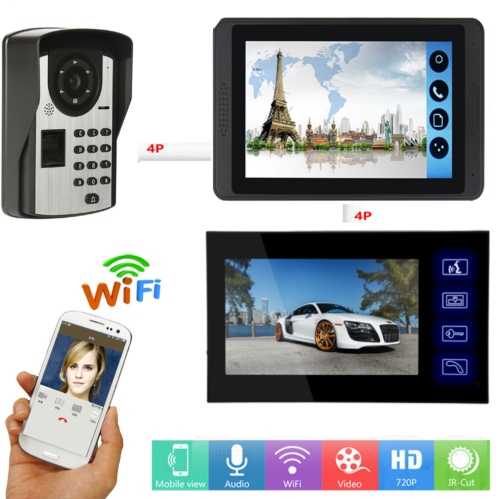APP Control Video Intercom 7 Inch LCD WIFI Wireless Video Door Phone Doorbell RFID Password Fingerprint Unlock Intercom System