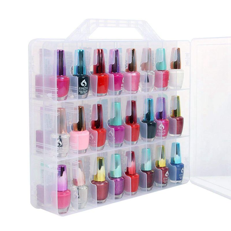 Nail-Polish-Organizer-Holder Storage-Case Portable Thread And Clear For 48-Bottles Di
