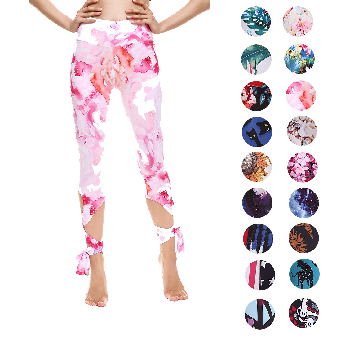 Ladies Fashion Slim Breathable Sweat Absorbing Running Sports Leggings Printing Multicolor Yo-ga Pants Hot Sports Bandage Pants