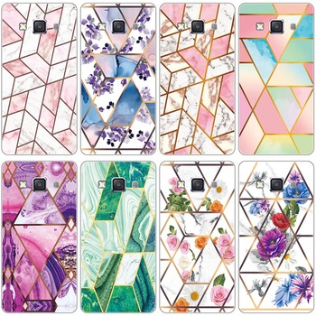 Soft Phone Case for Samsung Galaxy E5 E5000 SM-E500F E500 E500H E500F Glossy Flower Silicone Phone Back Geometric Marble Cover image
