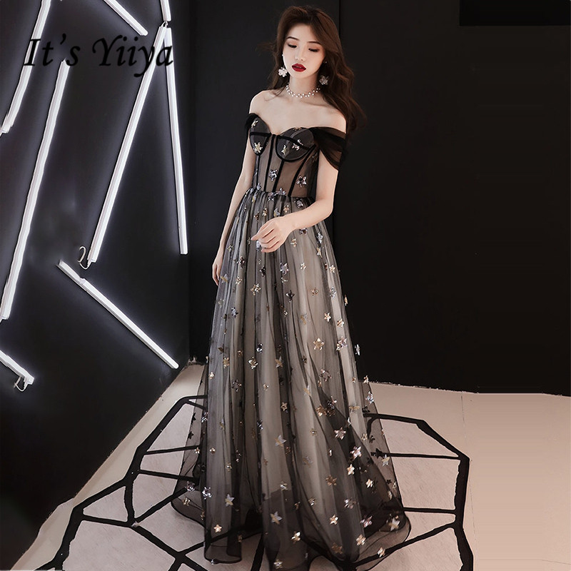 It's Yiiya Evening Dresses Black Stars Shining Evening Dress Elegant Off Shoulder Formal Gowns Plus Size Robe De Soiree LF110
