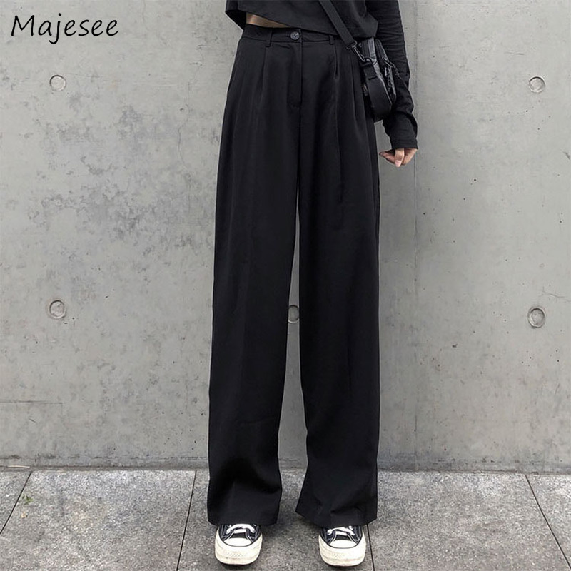 High Waist Pants Women Autumn Black Solid Full Length Womens Korean Fashion Casual Loose Simple Wide Leg Trousers Streetwear