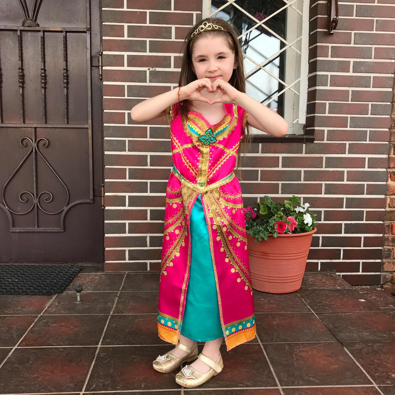 หญิงAladdin Jasmine Princessชุดเด็กฮาโลวีนเครื่องแต่งกายสีชมพูFuchsiaแฟนซีชุด