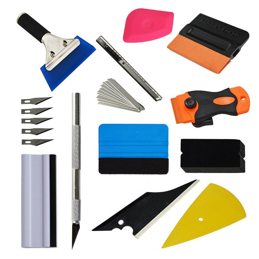 OLOMM Carbon Fiber Car Tools Vinyl Wrap Film Sticker Wrapping Tool Auto Window Tint Foil Magnetic Stick Squeegee Razor Scraper