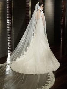 Image 4 - Beyaz/fildişi düğün duvağı 2M/ 2.5M / 3m / 4M uzun tarak dantel Mantilla Cathedral gelin Veils düğün aksesuarları Veu De Noiva