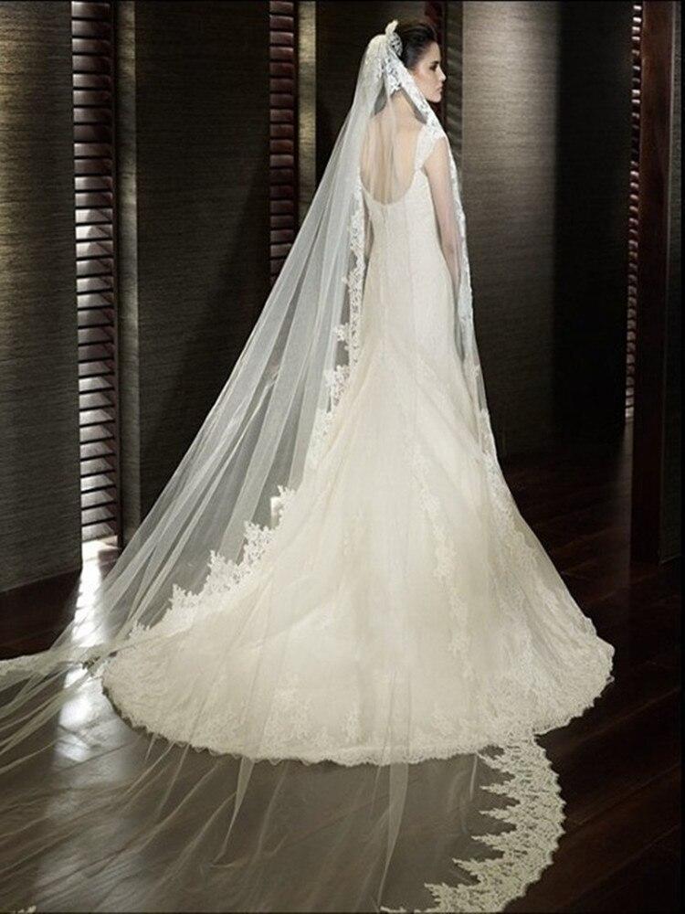 Image 4 - White/Ivory Wedding Veil 2M/ 2.5M / 3m / 4M Long Comb Lace Mantilla Cathedral Bridal Veils Wedding Accessories Veu De NoivaBridal Veils   -