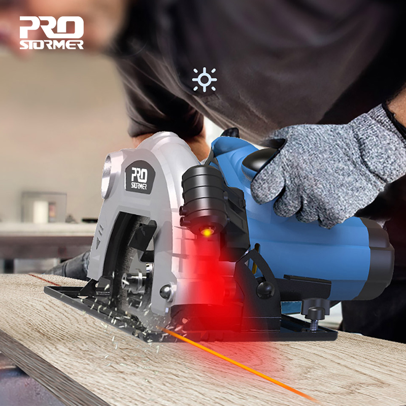 PROSTORMER Circular Saw 1500W 185mm(7inch) Electric Woodworking Tools LED Light Multi-function Flip Cutting Machine Power Tools