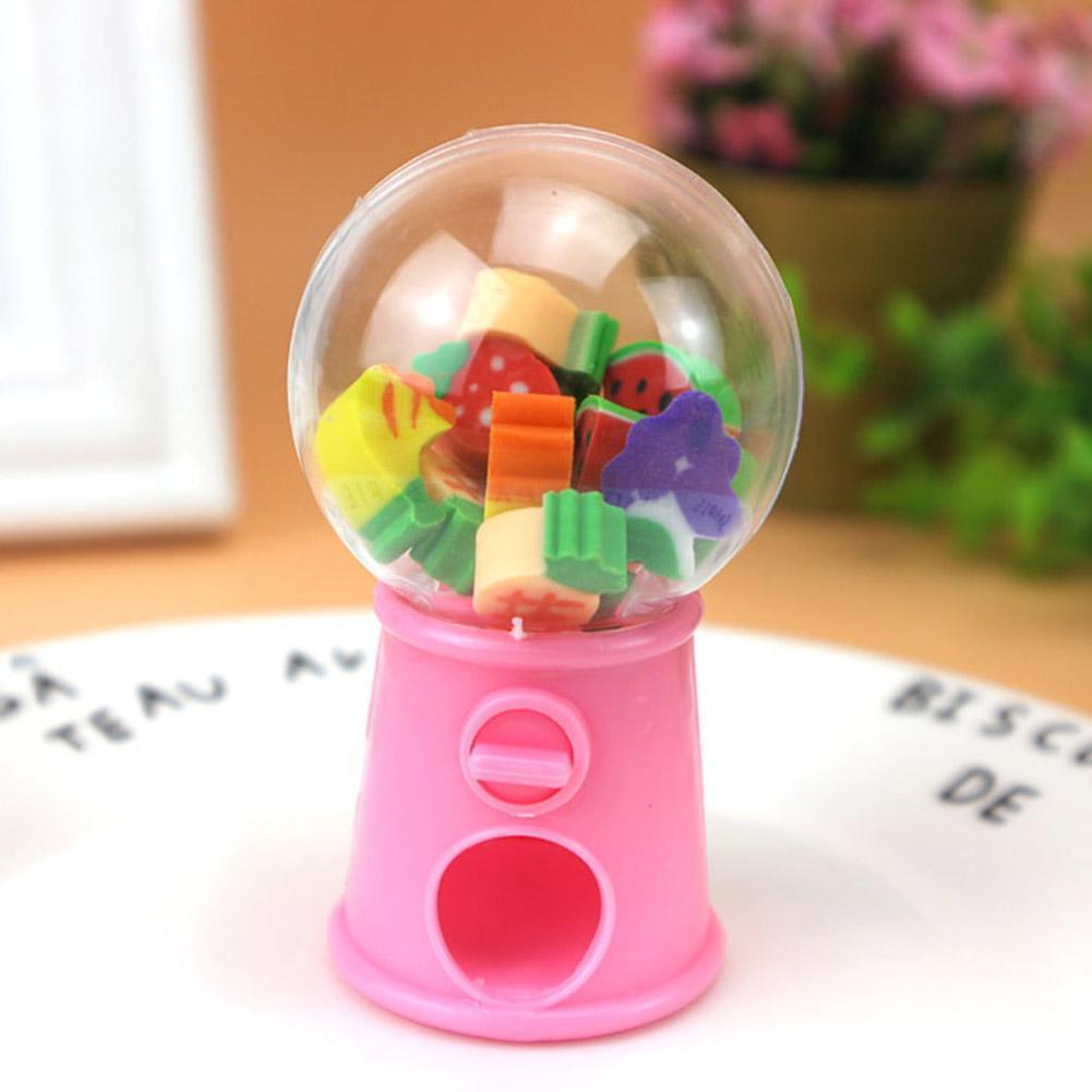 2020 Kawaii Cartoon Mini Gashapon Machine Fruit Pencil Drawingeraser Rubber Eraser Writing Kids For Office Erasers Prize C4Z1