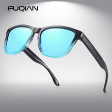 FUQIAN Classic Square Polarized Sunglasses Men Women Fashion Driving Sun Glasses Mirror Lens Eyeglasses Blue Shades UV400