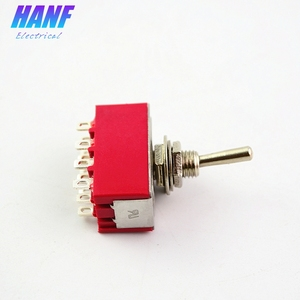 Image 4 - 5pcs 6A/125VAC 2A/250VAC 12Pins 4PDT ON/ON 2 Positions Mini MTS 402 Toggle Switch Red
