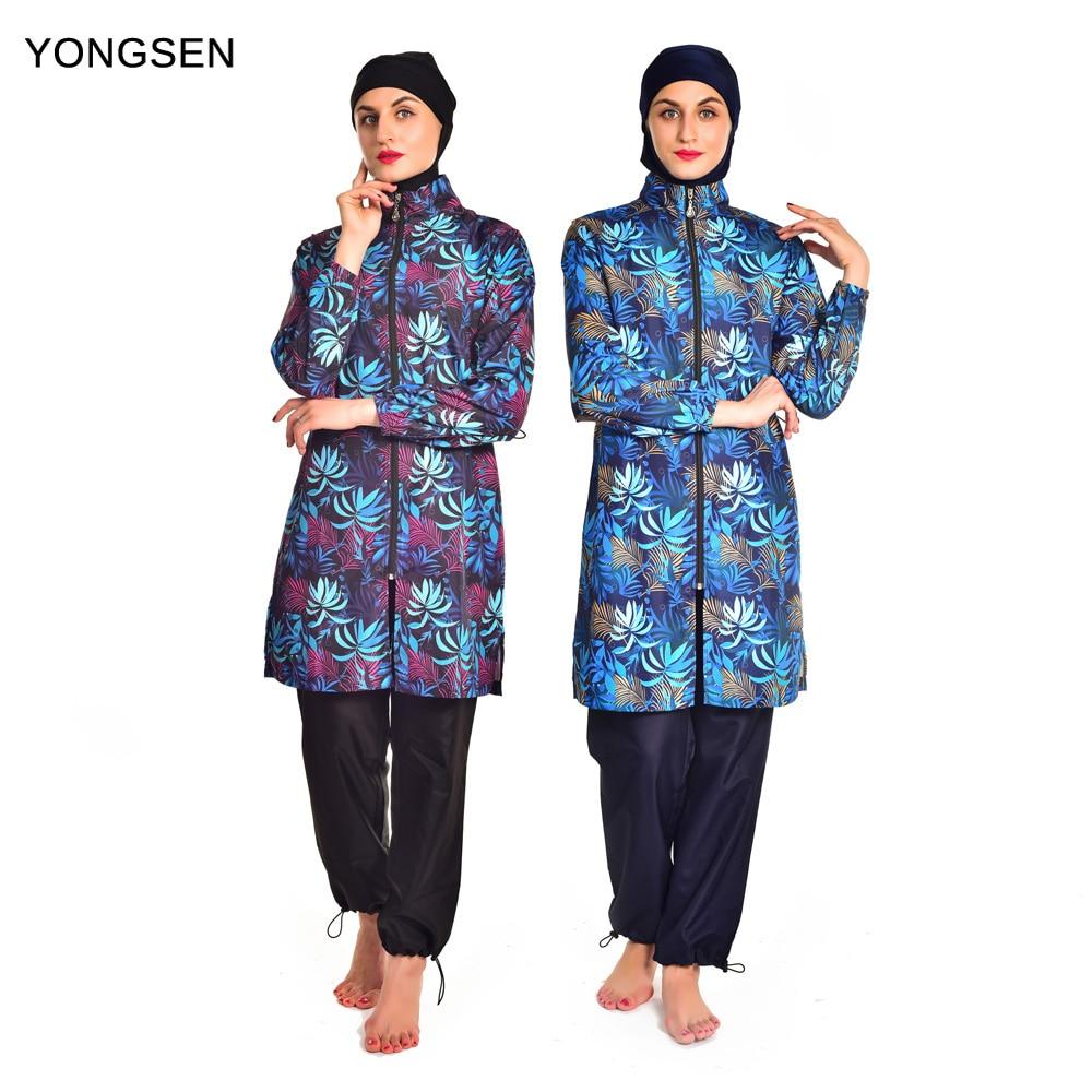 YONGSEN News Women Plus Size Burkinis Modest Clothing Islamic Muslim Swimsuit Long Muslimah Hijab Full Cover Swimwears Separated