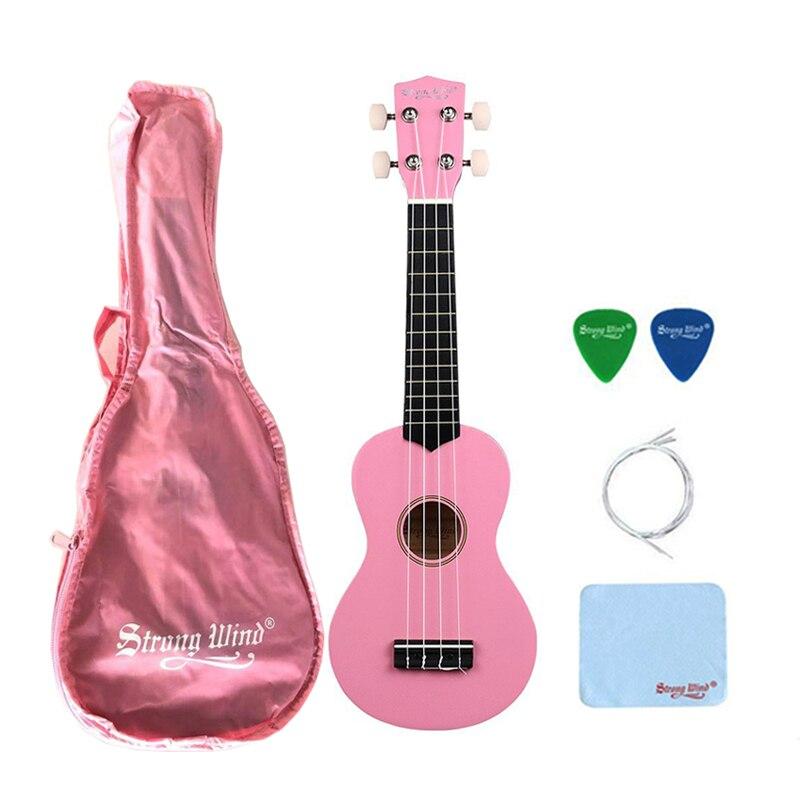 Vent fort 21 pouces Soprano acoustique ukulélé 4 cordes de Nylon Ukelele rose Mini Hawaii Instrument de guitare pour les débutants envoyer des cadeaux