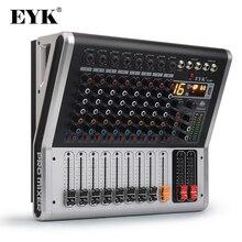 EYK EA80P, Consola de mezclas de 8 canales, con amplificador de potencia de 2 x 150 Watts / 4 Ohms, con función Bluetooth y USB, Mezclador de audio profesional DJ