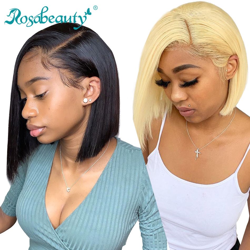 Rosa beauty Brazilian Short Bob Virgin Wig Straight Lace Front Human Hair Wigs 613 Blonde Lace