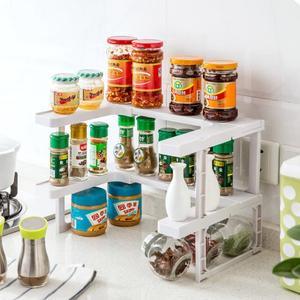 Image 2 - 2 Layers Kitchen Cabinet Cupboard Organizer Adjustable Kitchen Storage Shelf Spice Rack Countertop Organizer Cabinet Storage