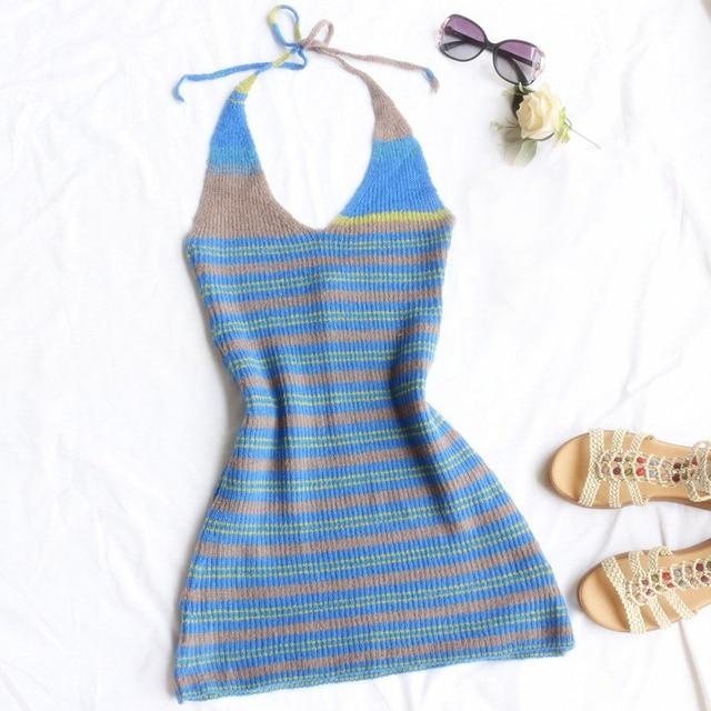 2021 Fashion Striped Knit Dress Women Harajuku Girls Striped Skinny Mini Dress Sexy Laides Backless Halter Summer Beach Dresses 4